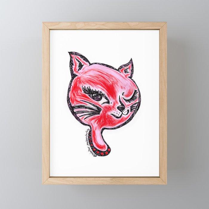 Winking Kitty Red Framed Mini Art Print