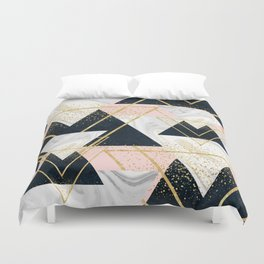 Elegant geometric and confetti golden design Duvet Cover