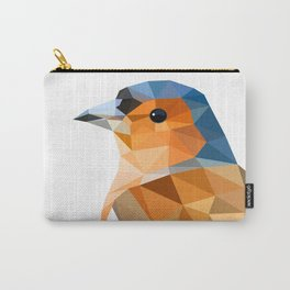 Chaffinch Bird art Geometric artwork Orange brown and blue Carry-All Pouch