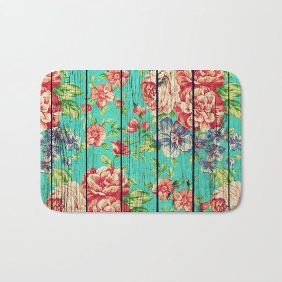 Flowers on Wood 06 Bath Mat