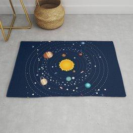 Cartoon illustration of solar system and planets around sun Rug
