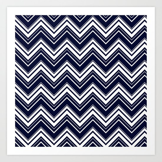 Maritime pattern- chevron - white and darkblue Art Print