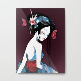 Geisha la blanche Metal Print