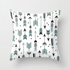 Blue arrows and crosses Throw Pillow
