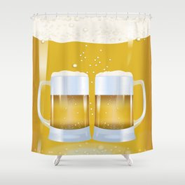 illustration of beer glass, Beer Shower Curtain