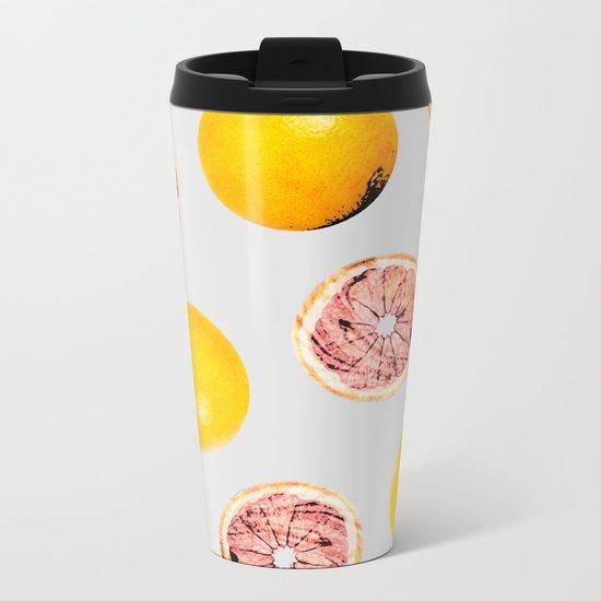 Grapefruit Pattern #society6 #decor #buyart Metal Travel Mug