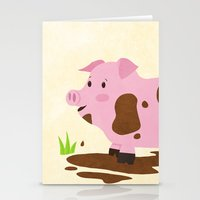 pig Stationery Cards featuring Pig by Claire Lordon