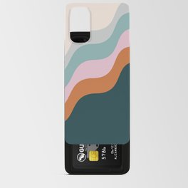 Abstract Diagonal Waves in Teal, Terracotta, and Pink Android Card Case