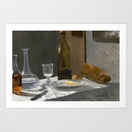 Still Life with Bottle, Carafe, Bread, and Wine (1862–1863) by Claude Monet. Art Print