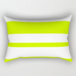 Mixed Horizontal Stripes - White and Fluorescent Yellow Rectangular Pillow