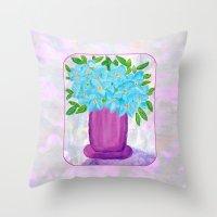 Magenta Vase with Aqua Flowers Throw Pillow