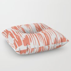 Bamboo Stripes White on Deep Coral Floor Pillow
