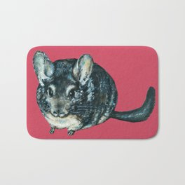 Chinchilla on red Bath Mat