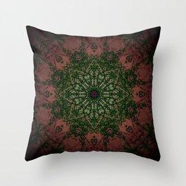 Warm Vintage Detailed Green Mandala Throw Pillow
