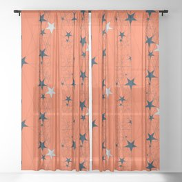 Orange Juice Stars Sheer Curtain