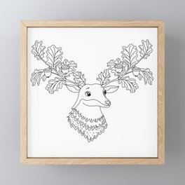 Autumn Deer with Acorns and Leafs Framed Mini Art Print