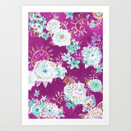 Plum Flourish Floral Art Print