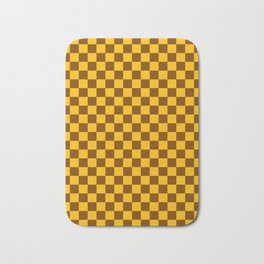 Amber Orange and Chocolate Brown Checkerboard Bath Mat