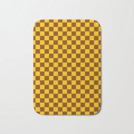 Amber Orange and Chocolate Brown Checkerboard Bath Mat