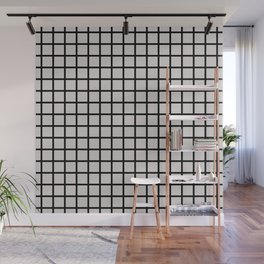 Foundry Black on Nude Grid Wall Mural
