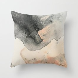 Peace and Quiet [2]: a pretty, minimal abstract piece in gray and peach by Alyssa Hamilton Art Throw Pillow