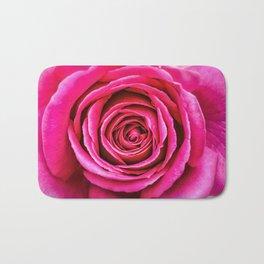 Hot Pink Rose Closeup Bath Mat