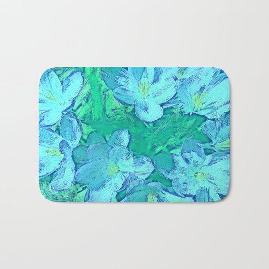Ocean Floral Abstract - Painterly Bath Mat