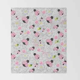 Pretty in Pink Roses Ladybugs Dragonfly Throw Blanket
