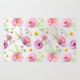 Delicate Poppy Pattern On White Background Rug