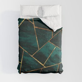 Dark Teal Ink Copper Gold Geometric Glam #1 #geo #decor #art #society6 Comforters