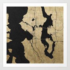 Seattle Black and Gold Street Map Art Print