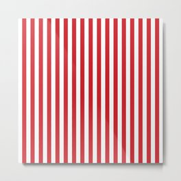 Vertical stripes - red and white Metal Print