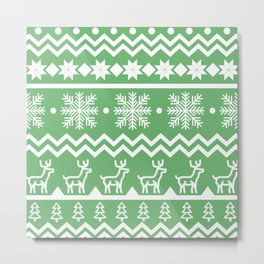 Classic Christmas sweater pattern with deers, pine trees and snowflakes in green and white Metal Print