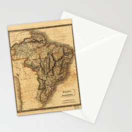 Map of Brazil and Paraguay (1828) Stationery Cards