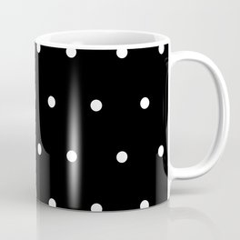 Black Background With White Polka Dots Pattern Coffee Mug