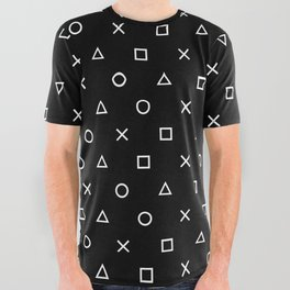 Gamer Pattern (White on Black) All Over Graphic Tee