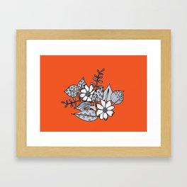 Orangey Gray Floral Framed Art Print
