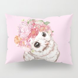 Snowy Owl with Flowers Crown Pillow Sham