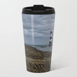 Storm Clouds Over The Trwyn Du Lighthouse Travel Mug