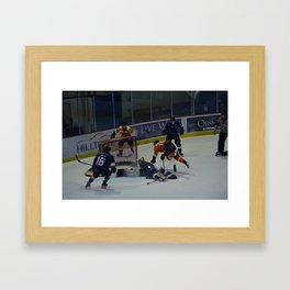 Dive for the Goal - Ice Hockey Framed Art Print