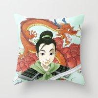 mulan Throw Pillows featuring Mulan by Aimee Steinberger