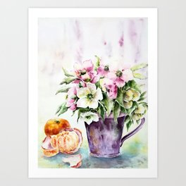Flowers and citrus-still life Art Print