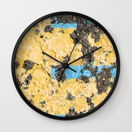 Urban Texture Photography -  Blue & Yellow Painted Asphalt Wall Clock