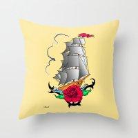 ship Throw Pillows featuring ship by mark ashkenazi