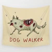 gore Wall Tapestries featuring Dog Walker by Sophie Corrigan