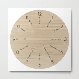 Wooden Clock Face - Time in Words Metal Print
