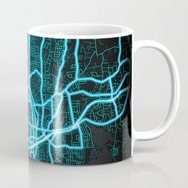 Stamford, CT, USA, Blue, White, Neon, Glow, City, Map Coffee Mug