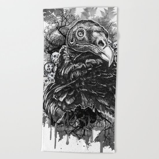 Vulture and Pine Beach Towel