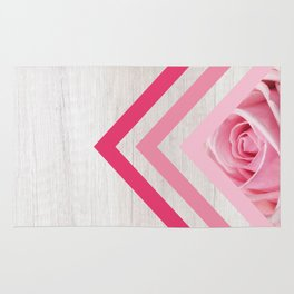 Pink Rose on White Wood - Floral Romantic Geometric Design Rug