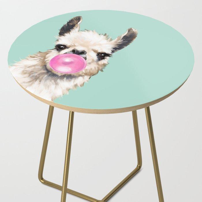 Bubble Gum Sneaky Llama in Green Side Table